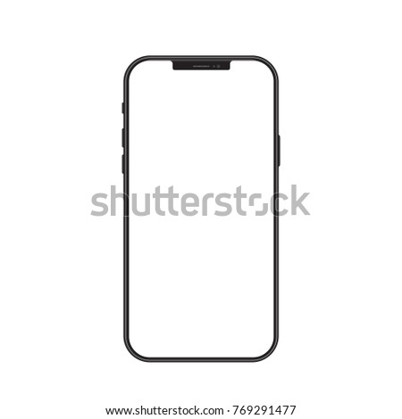 New version of black slim smartphone similar to with blank white screen. Realistic vector illustration. #769291477