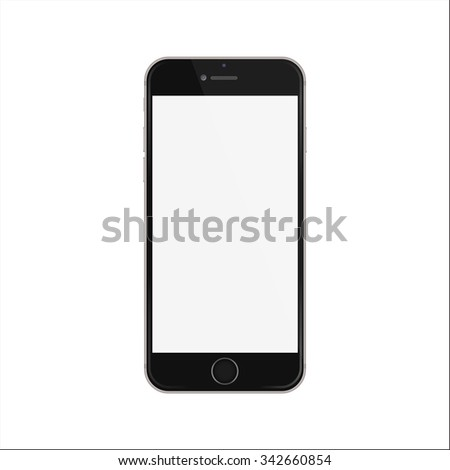 New version of black slim smartphone with blank white screen.