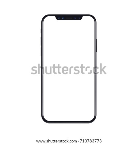 New version of black slim smartphone with blank white screen. Realistic vector illustration.