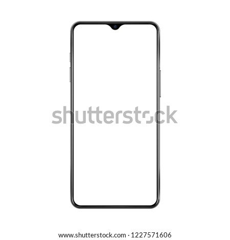New version of black thin frame smartphone with small face camera and blank white screen. Realistic vector illustration.