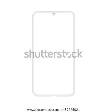New version of frameless notch display modern smatphone. Cell phone smart phone realistic mockup vector illustration.