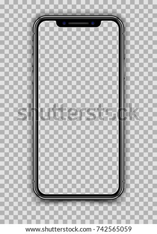 New Version of High Detailed Realistic Smartphone similar to iPhone X isolated on Transparent Background. Front View Display. Device Mockup Separate Groups and Layers. Easily Editable Vector.