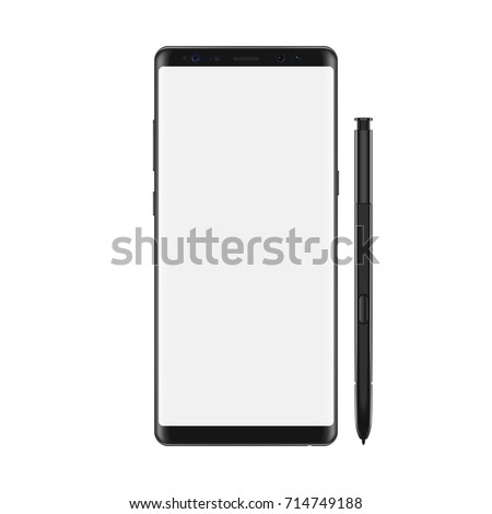 New version of modern vector note smartphone with blank white screen. Frameless elegant display smartphone with stylus.