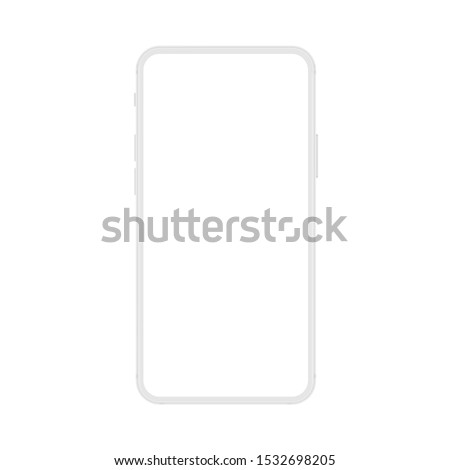 New version of soft white frameless display modern smatphone. Cell phone smart phone realistic mockup vector illustration.
