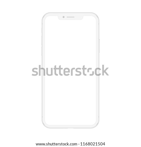 New version of soft white smartphone with blank white screen. Realistic vector mockup phone for visual ui app demonstration.