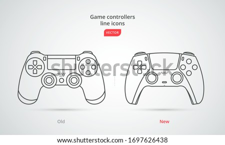 New wireless game controller, old 4 and new 5. Gamepad icon in line-art style