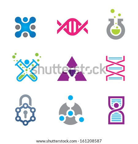 New world of cutting edge technology in science background logo and icon