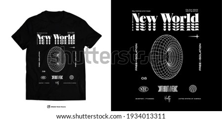 New World Without Fear Without Isolation Street Wear T shirt Design Foto stock ©