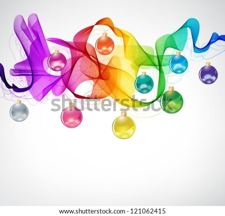 New year abstract background with colorful balls and wave, vector