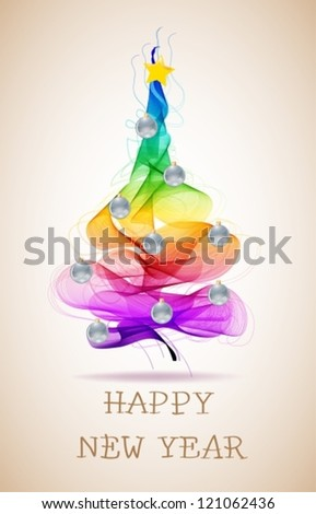 New year abstract background with colorful balls on fur tree and text, vector