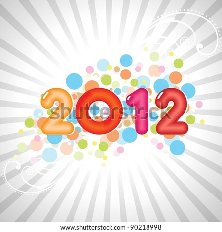 new year abstract 2012 with colorful design on gray rays background for new year & other occasions. - stock vector