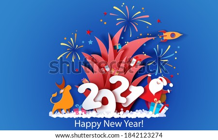 New year advertising design. Santa Claus with bull and fireworks over big letters 2021 on blue background. Vector paper cut art illustration for promotion banners, headers, posters, stickers
