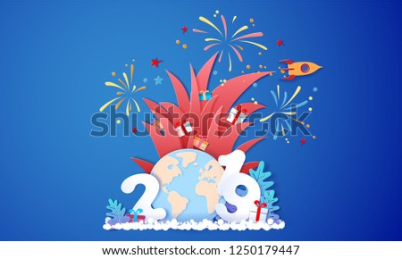 New year advertising design. Santa Claus with gift box and fireworks over big letters 2019 and globe Earth on blue background. Vector paper cut art illustration for banners, headers, posters, stickers