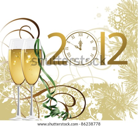 New Year. All elements and textures are individual objects. Vector illustration scale to any size. - stock vector
