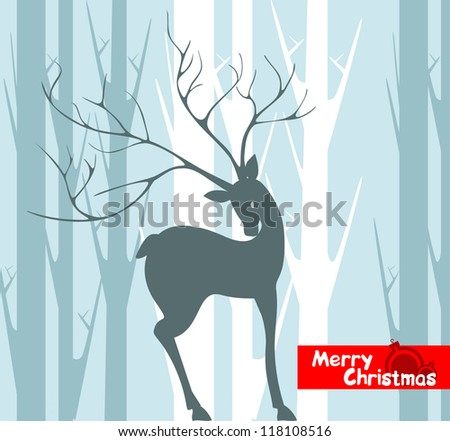 New Year and Christmas background Winter Forest is a huge antlered deer