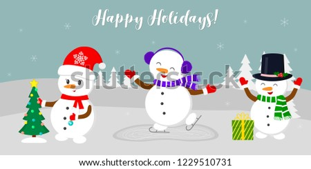 New Year and Christmas card. Three cute snowmen, skating, dressing up the Christmas tree and enjoying the present, in the winter against the background of snowflakes. Cartoon style, vector. #1229510731