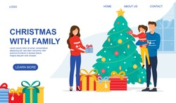 New year and Christmas celebration concept. Happy young caucasian family mother father and little girl standing next to the decorated Christmas tree. Flat vector illustration. Web page template