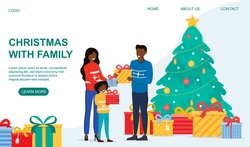 New year and Christmas celebration concept. Happy young family mother father and little girl standing with gifts next to the decorated Christmas tree. Flat vector illustration. Web page template
