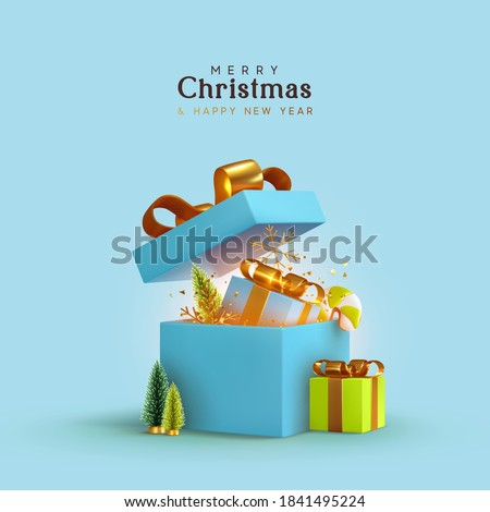 New Year and Christmas design. Realistic blue gifts boxes. Open gift box full of decorative festive object. Holiday banner, web poster, flyer, stylish brochure, greeting card, cover. Xmas background stock photo