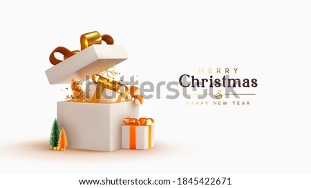 New Year and Christmas design. Realistic white gifts boxes. Open gift box full of decorative festive object. Holiday banner, web poster, flyer, stylish brochure, greeting card, cover. Xmas background