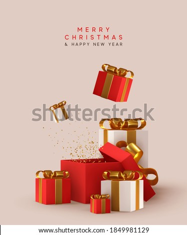New Year and Christmas design. Realistic white red gifts boxes. Open gift box. decorative festive object. Holiday banner, web poster, flyer, stylish brochure, greeting card, cover. Xmas background
