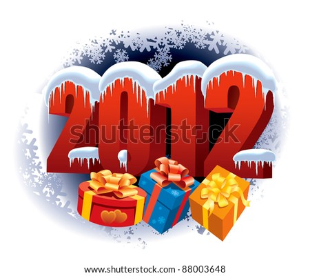 New Year 2012 and Christmas gifts on winter white background