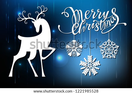 New Year and Christmas, Laser cutting. Set of Christmas decorations. Isolated openwork objects lettering, sleigh, deer. Glowing background.