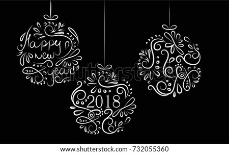 New Year 2018 And Christmas On The Balls