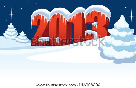 New Year 2013 and Christmas trees on winter white background