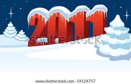 New Year 2011 and Christmas trees on winter white background