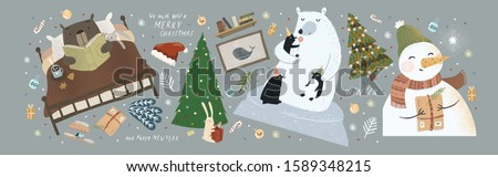 New Year and Christmas vector illustrations and objects. Cute drawings of winter animals of bears, bunny, penguin, snowman, Christmas tree, Santa Claus, tea and gingerbread