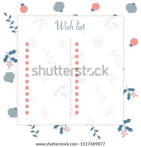 New year and Christmas winter wish list for notebooks in pastel colours for girls and their dreams and wishes  on cute pattern