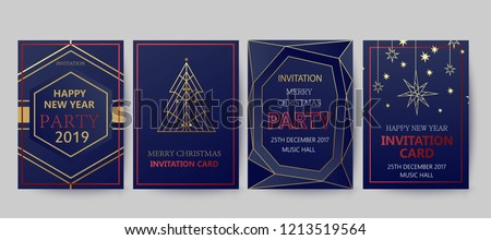 New Year and Merry Christmas party   invitation, background. Geometric art  style design with holiday tree. Greeting card, flyer, poster. Winter card template. #1213519564