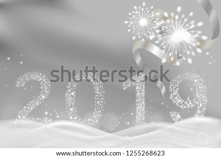 New Year background, fireworks over 2019 silver glitter number with space for text. illustration vector.	 #1255268623