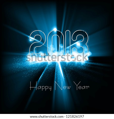 New year 2013 background for shiny swirl blue wave colorful vector design