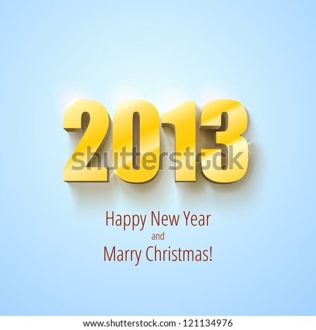 New year 2013 background gold numbers, vector illustration