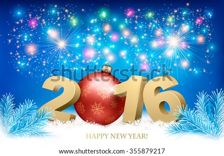 New Year background with a 2016 and a bauble. Vector. #355879217