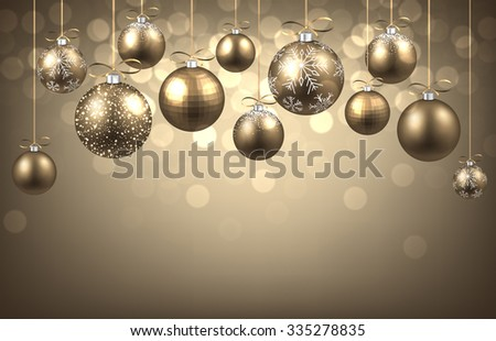 new year background with balls vector paper illustration