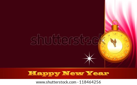 New Year background with gold clock decoration. EPS10 vector format