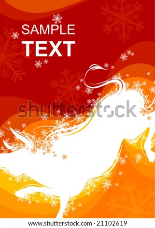 New Year background with Ox sign 4 - stock vector