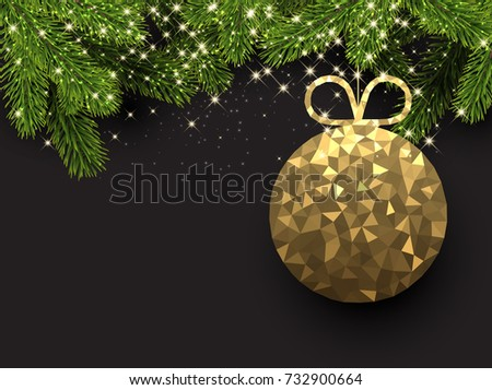 New Year background with spruce branches and abstract Christmas ball. Vector illustration.