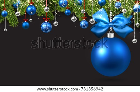 New Year Background With Spruce Branches And Blue Christmas Balls Vector Illustration