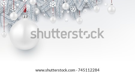 New Year background with white spruce branches and Christmas balls. Vector illustration.