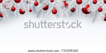 New Year background with white spruce branches and red Christmas balls. Vector illustration.