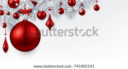 New Year background with white spruce branches and red Christmas balls. Vector illustration. #745402141