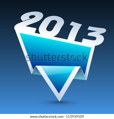 New Year 2013 banner, tag, sticker or label design on blue. EPS 10.