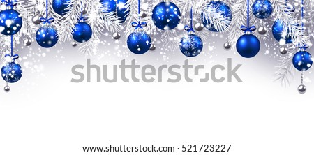 new year banner with blue christmas balls vector illustration
