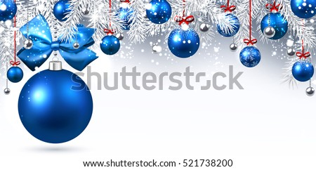 Stock Photo New Year banner with blue Christmas balls. Vector illustration.