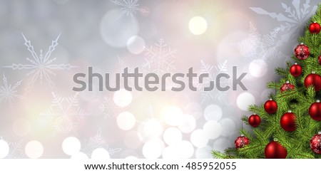 New Year banner with Christmas tree and snowflakes. Vector illustration. #485952055