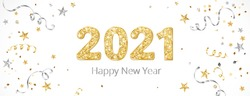 New year banner with decoration. 2021 gold glitter numbers. Falling confetti ribbons and stars. Gold and silver frame. For Christmas and winter holiday headers, party flyers. Vector illustration.